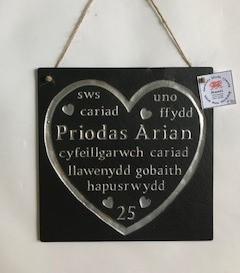Plac Penblwydd Priodas Arian  Silver Wedding Anniversary Plaque