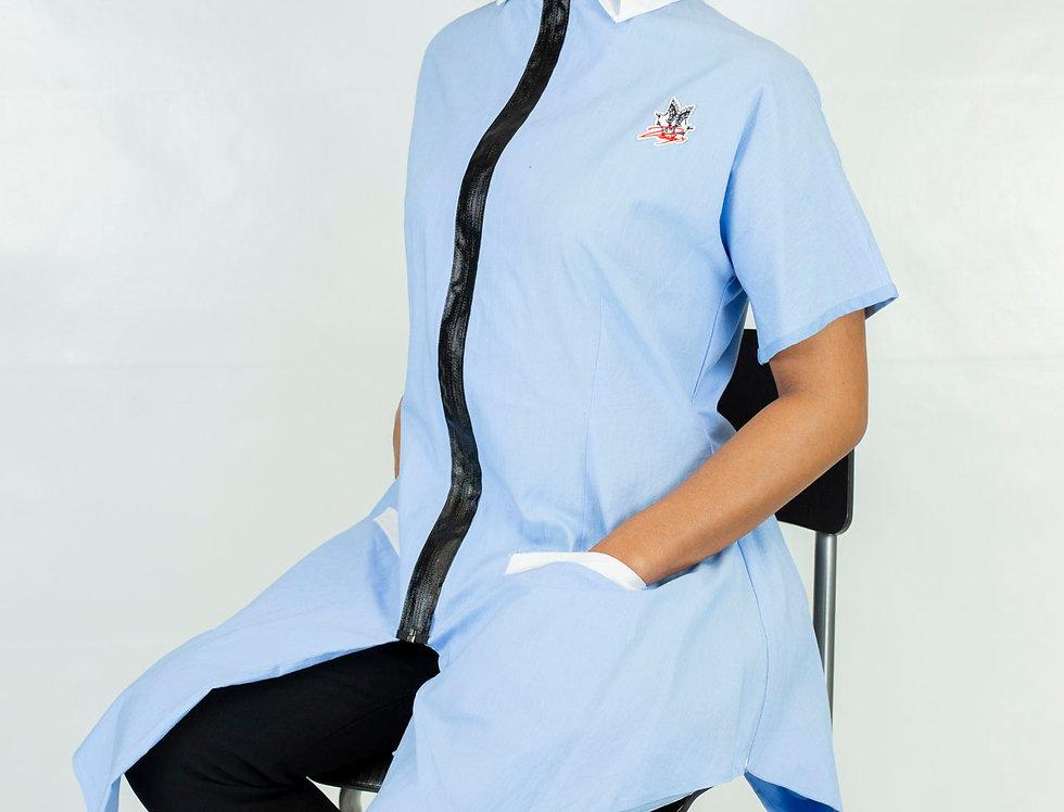 Derby's - Robe chemise origamique - bleue céleste