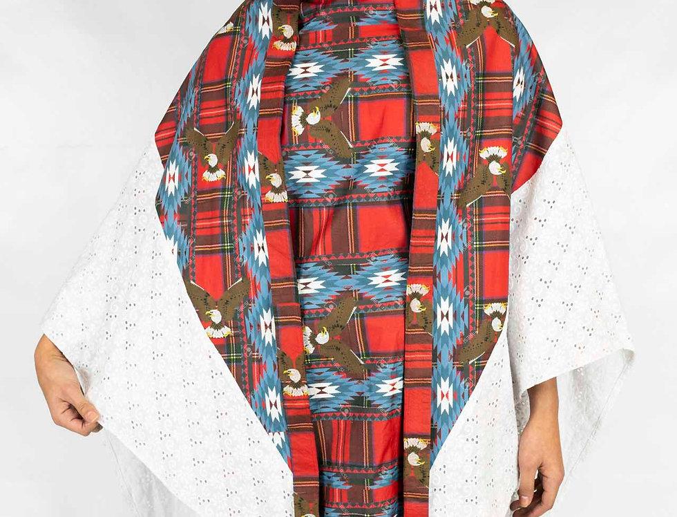 Derby's - Poncho Kimono Adonaï - Blanc rouge