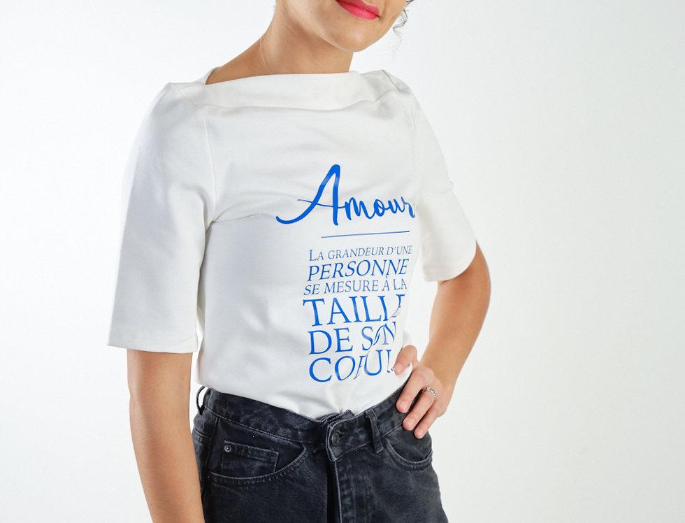 T-shirt col bateau Aimer blanc - Collab' Pascal Malonda