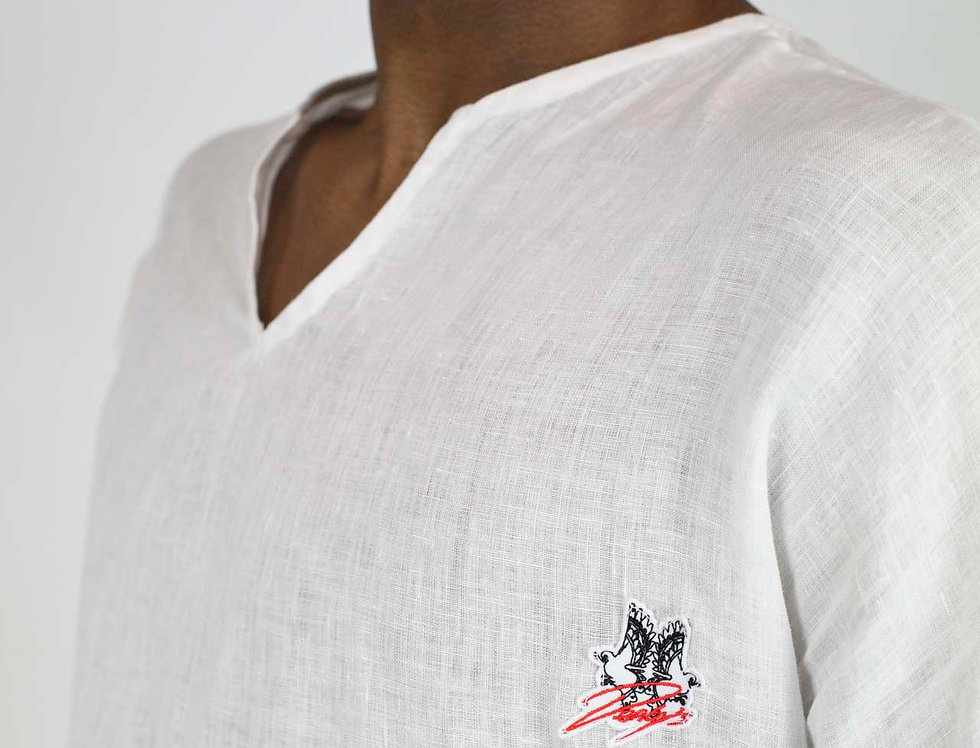 Derby's - Tunique longue YHVH en lin - blanc