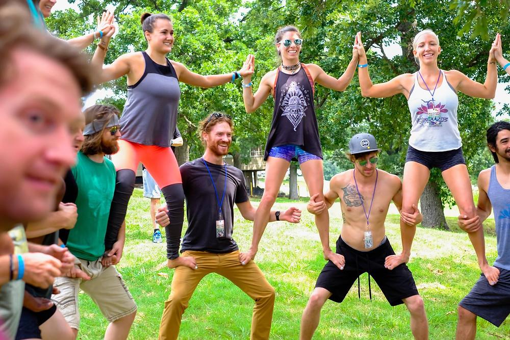 Community building fun at the Big Om Yoga Retreat