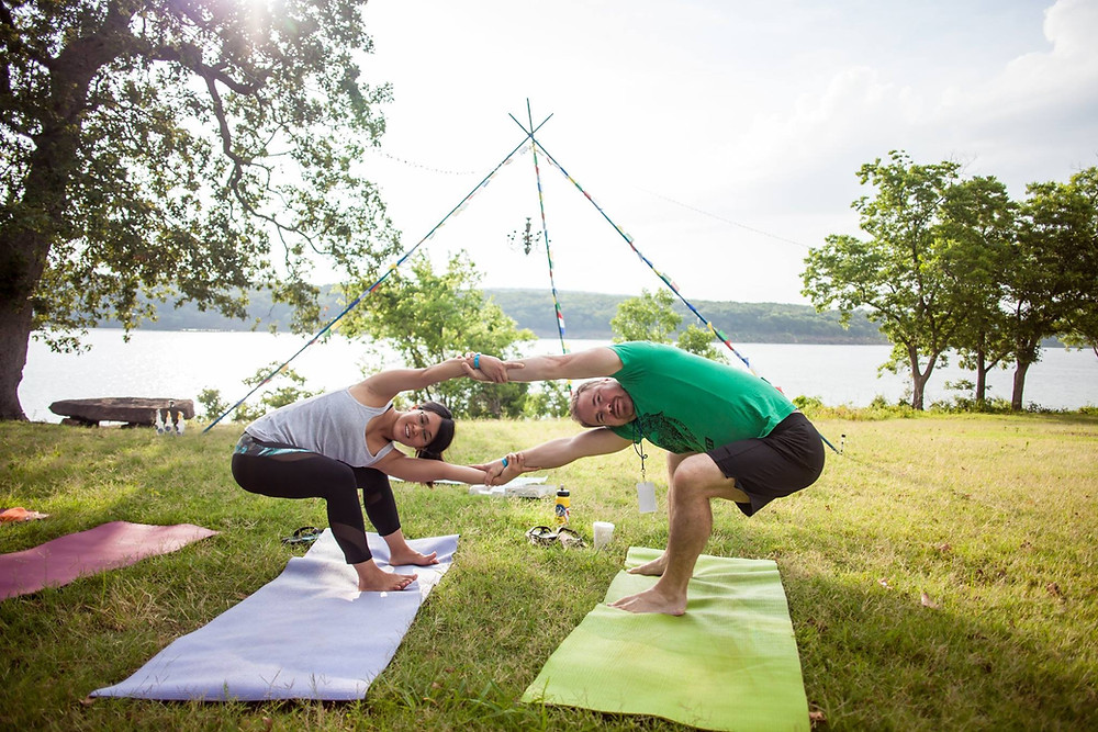 Partner stretches at the Big Om Yoga Retreat