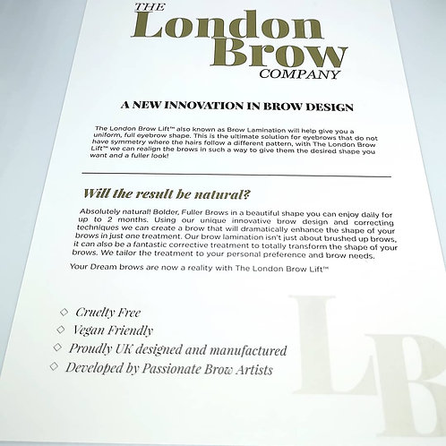 Brow Lamination Marketing Leaflets and After Care