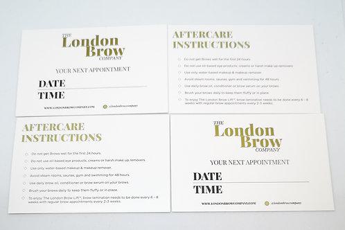 50 x cartes de rendez-vous client et cartes de suivi - London Brow Company