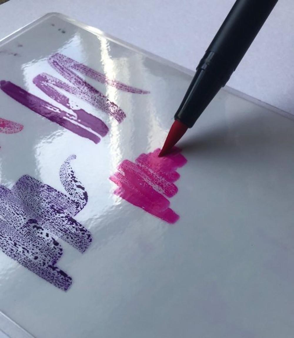 Scribbling Tombow Dual Brush Pens on a Blending Palette