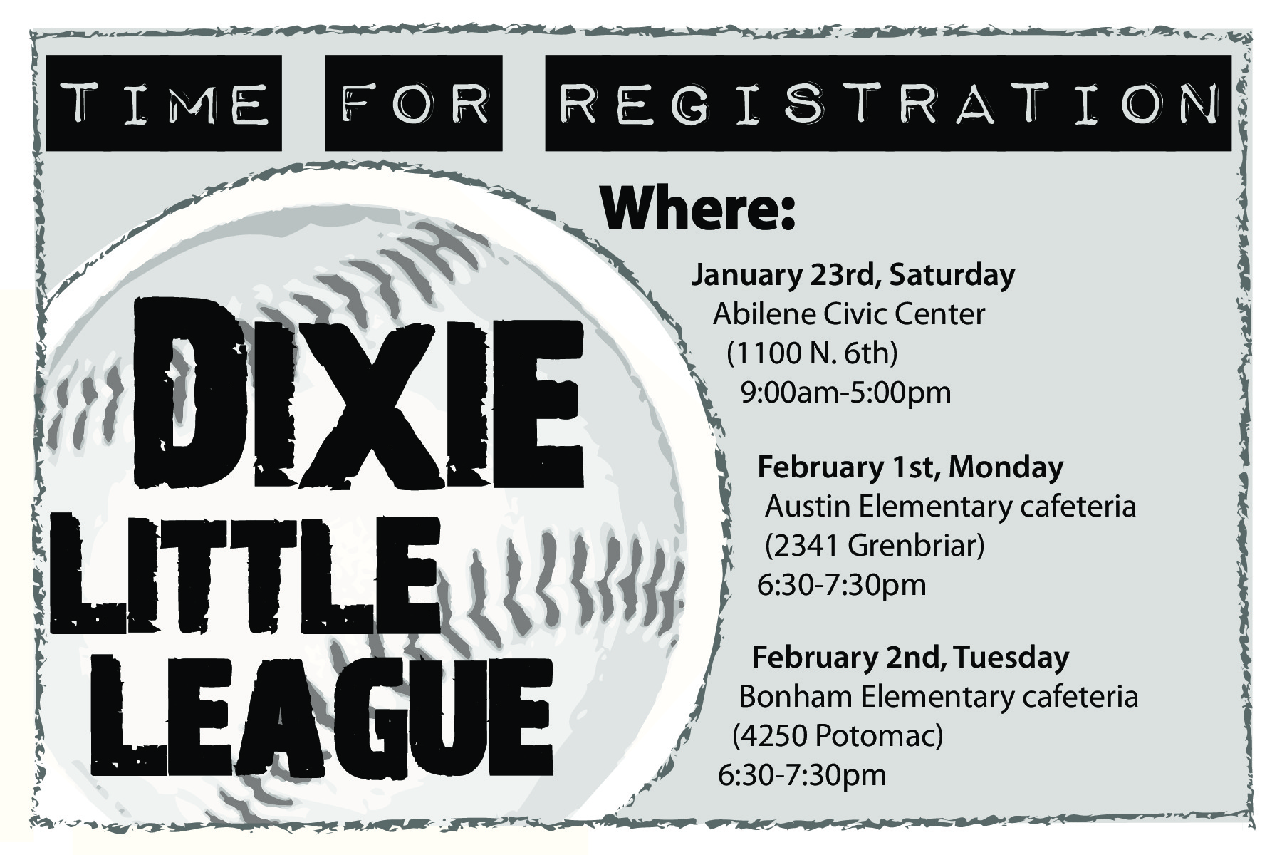 Dixie Little League Registration Ad