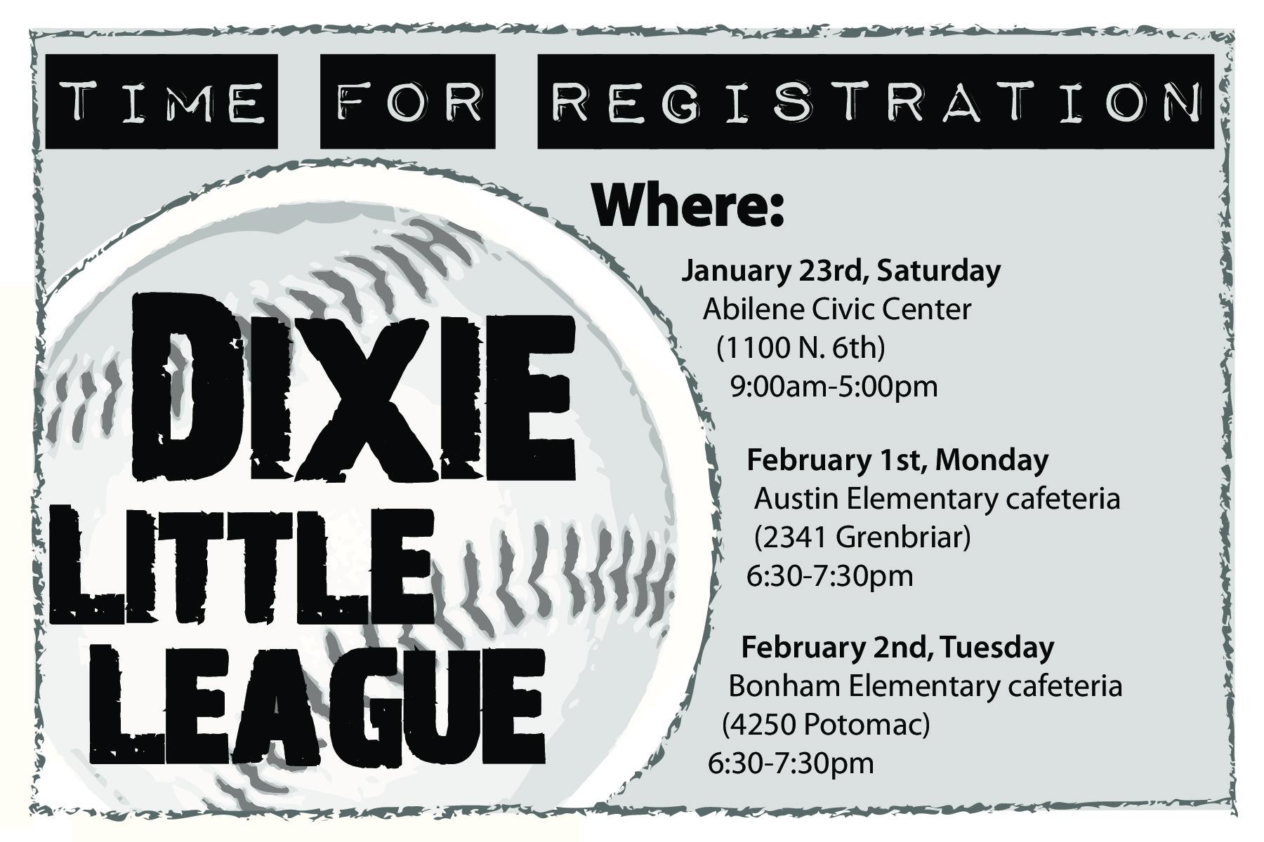Dixie Little League Registration Ad