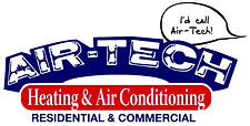 "A logo for Air-Tech Heating and Air Conditioning. Included in the logo is a speech bubble that reads ""I'd call Air-Tech!"""