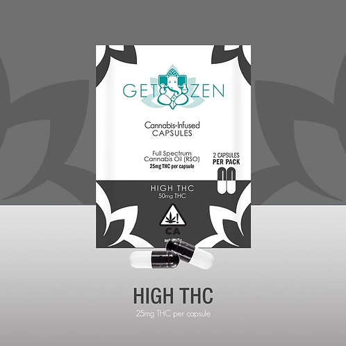 High THC 25mg Capsules - 2 pack
