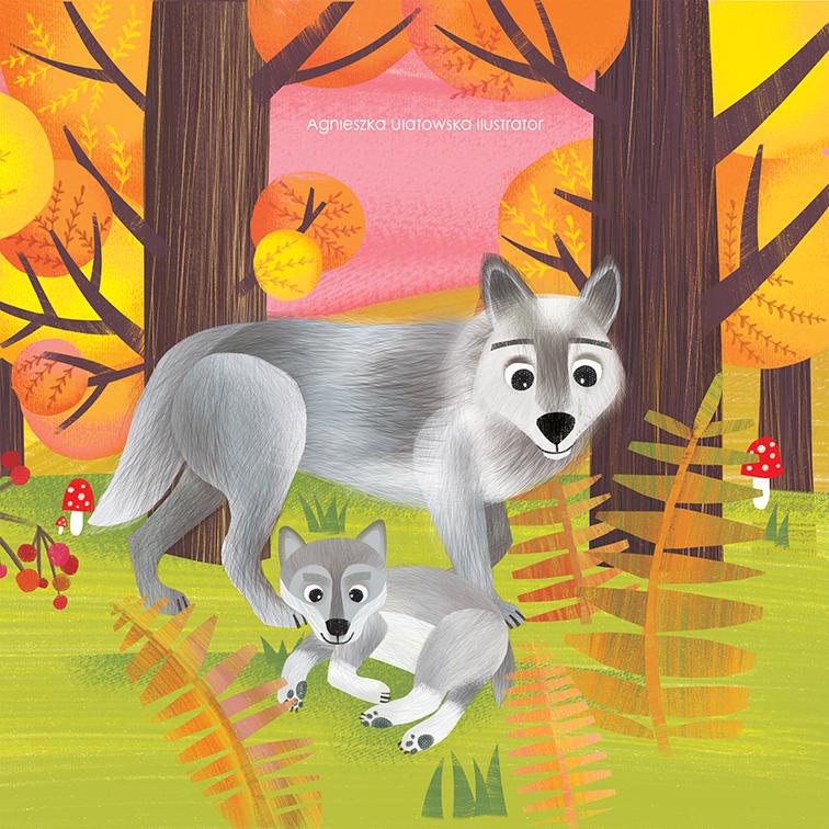 Zwierzeta i ich dzieci. W lesie.