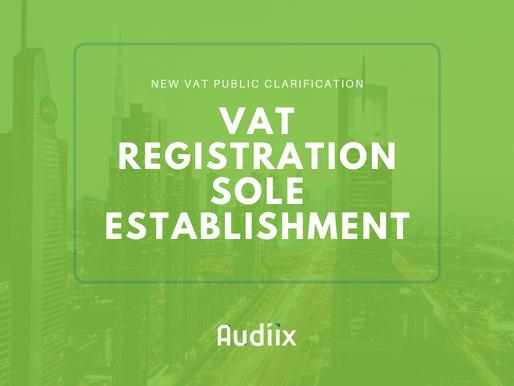 VAT registration of Sole Establishments