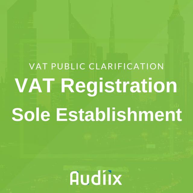 VAT registration for Sole Establishment in the UAE