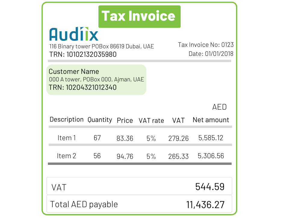 Tax invoice in the UAE, Tax Invoice Format, Full Tax Invoice, Simple Tax Invoice