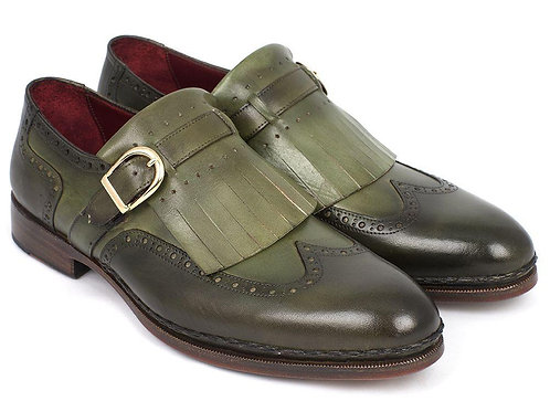 Men's Wingtip Monkstrap Brogues Green Hand-Painted Leather