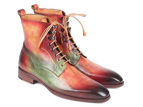 Men's Green, Camel & Bordeaux Leather Boots (ID#BT533SPR)