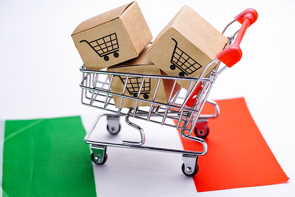 Box with shopping cart logo and Italy fl
