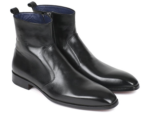 Black Leather Side Zipper Boots