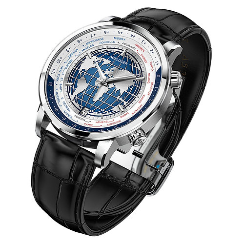 Self-Winding Mechanical Automatic Swiss Men's Watch With World Time Date Power