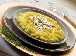 saffron risotto with gold leaf
