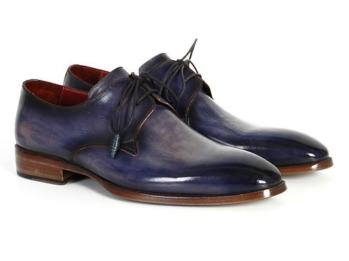 Men's Blue & Navy Hand-Painted Derby Shoes
