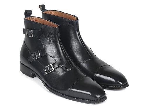 Triple Monkstrap Boots Black Leather