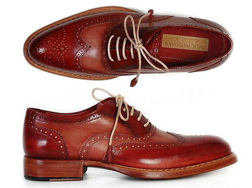 Men's Wingtip Oxfords Bordeaux & Camel