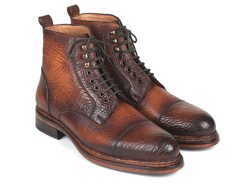 Antique Burnished Leather Boots Brown