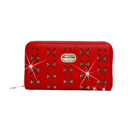 Butterfly Twinkle Star Women's Gold Tone Zip Around Clutch, Wristlet, & Wallet