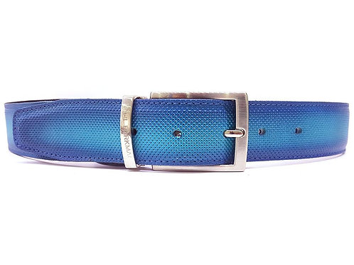 Men's Perforated Leather Belt Turquoise