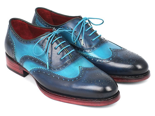 Men's Two Tone Wingtip Oxfords Blue & Turquoise