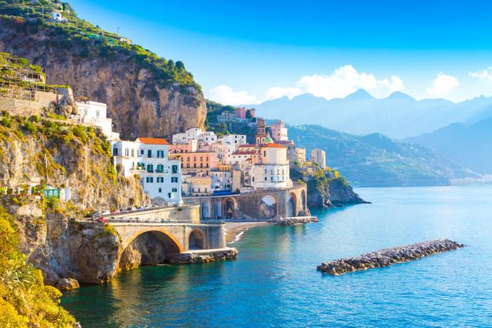 Morning view of Amalfi cityscape on coas