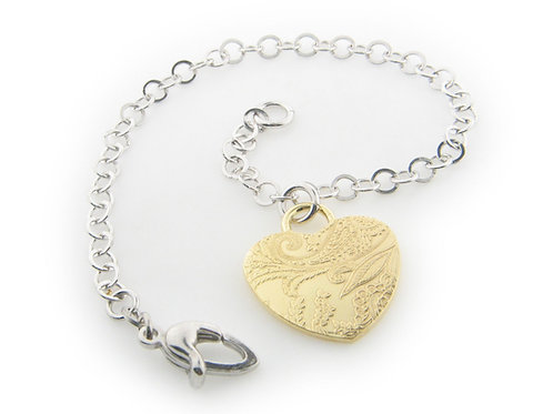 Italian Engravings Heart Bracelet