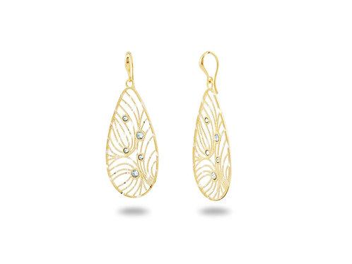 Italian Vermeil Oval-Cut Intricate French Hook Earrings