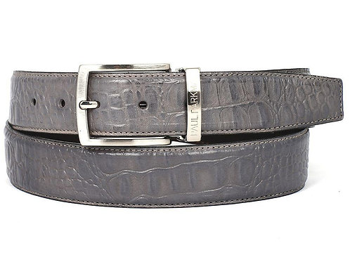 Men's Crocodile Embossed Calfskin Leather Belt Hand-Painted Gray