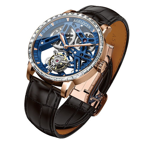 Swiss Tourbillon Watch Men Sapphire Blue Skeleton