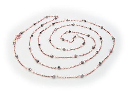 "Italian Hematite Nuggets Rose Necklace, 32"""