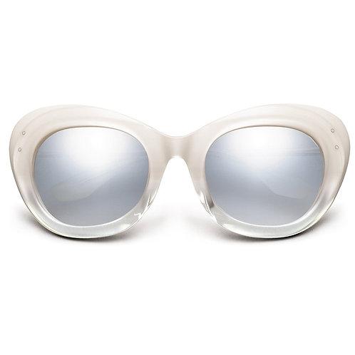 Faye: Polished Ivory Fade - Chrome / Light Blue Chrome Flash Lens