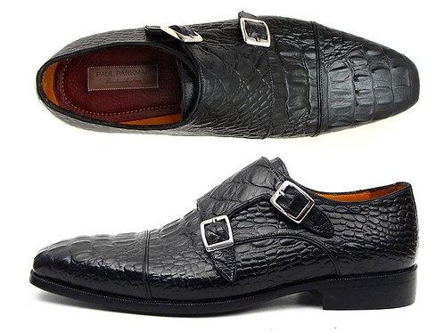 Men's Double Monkstraps Black Crocodile Embossed Calfskin