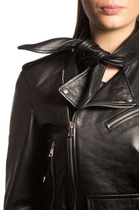 Women Black Bow Leather Jacket