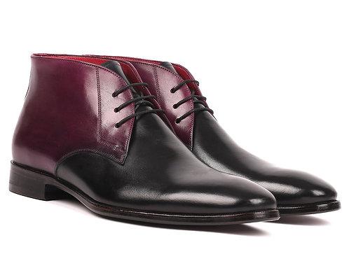 Men's Chukka Boots Black & Purple (ID#CK68H1)