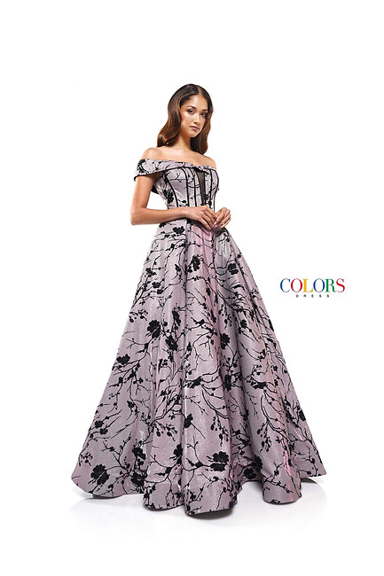 PATTERN GLITTER KNIT OFF THE SHOULDER BALL GOWN