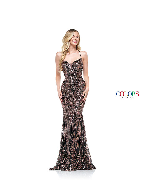 SEQUIN FIT AND FLARE GOWN WITH STRAPPY BACK AND SWEETHEART NECKLINE