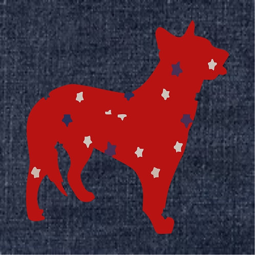 Australian Cattle Dog Applique Patriotic Pillow