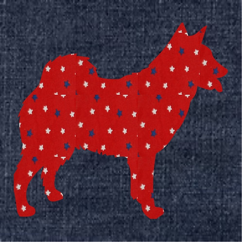 Norwegian Buhund Applique Patriotic Pillow