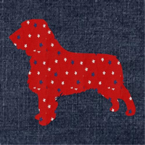 Field Spaniel Applique Patriotic Pillow