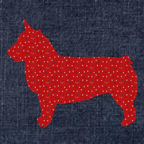 Swedish Vallhund Applique Patriotic Pillow