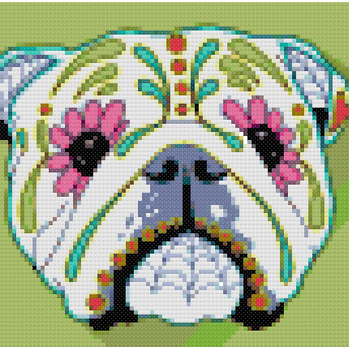 Bulldog Day of the Dead Portrait cross stitch