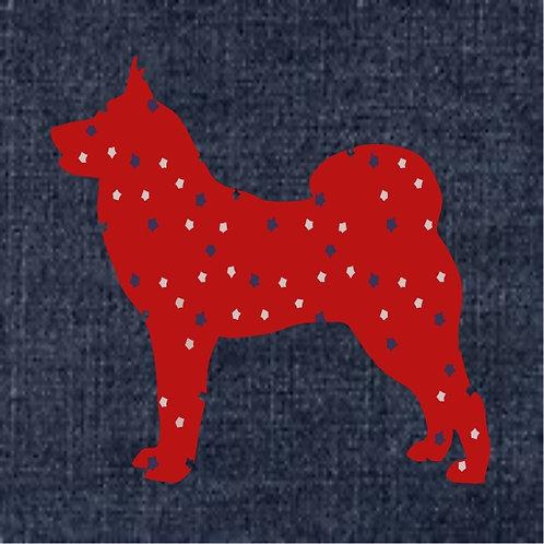 Karelian Bear Dog Applique Patriotic Pillow