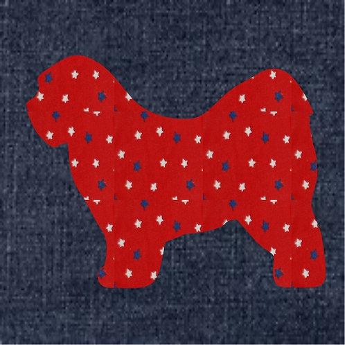 Tibetan Terrier  Applique Patriotic Pillow